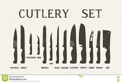 kitchen knives names set flat icons of kitchen knives with signature names