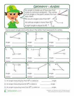 Beginning Geometry Worksheets Free by Basic Geometry Anatomy Of An Angle Worksheet
