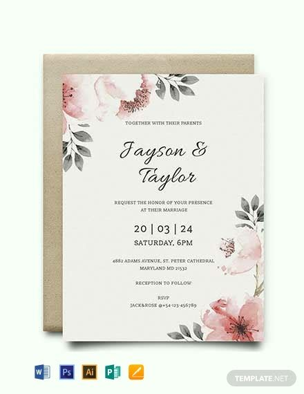 vintage wedding invitation template word psd