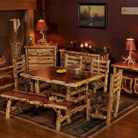 log cabin dining room furniture log cabin builder red cedar dining set for the home