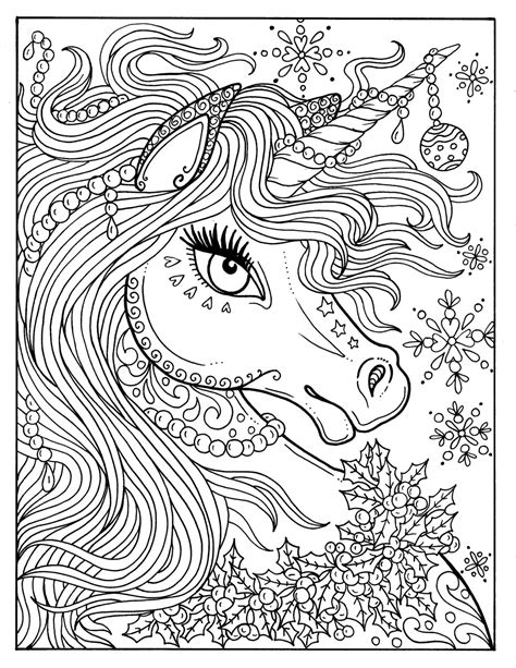christmas unicorn coloring page unicorn christmas coloring page adult color book art fantasy