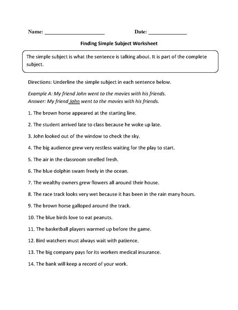 Finding The Subject Of A Sentence Worksheet by Subject And Predicate Worksheets Finding Simple Subject