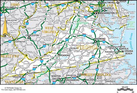 printable virginia road map virginia map