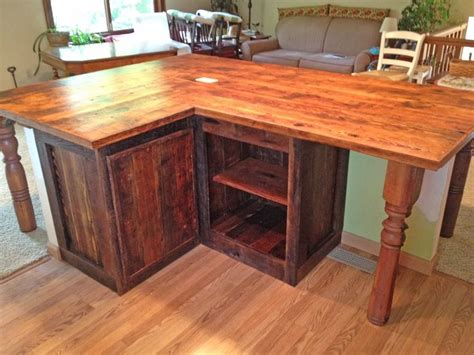 wood kitchen island legs l shaped island made of reclaimed barn wood with pillars