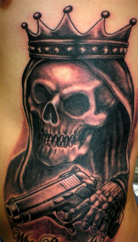 skull with crown tattoo various elements which can