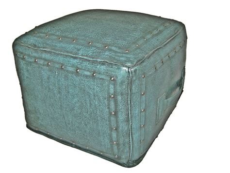turquoise leather ottoman tooled leather large square ottoman with tack trim in