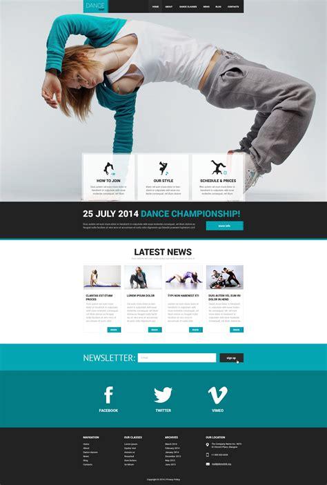 templates for dance website dance studio responsive website template 50542