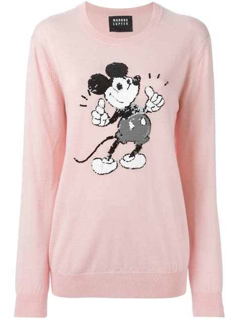 Sweater Mickey Pink markus lupfer mickey sequin sweater in pink lyst