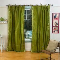 Olive Green Curtains Olive Green Tie Top Sheer Sari Curtain Drape Panel Ebay