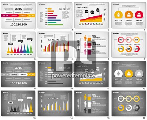 flat design diagrams set for powerpoint presentations