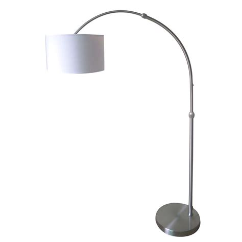 modern  adjustable arc arch floor lamp brushed nickel white fabric shade ebay