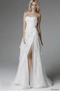 strapless white wedding dress with high slit sang maestro