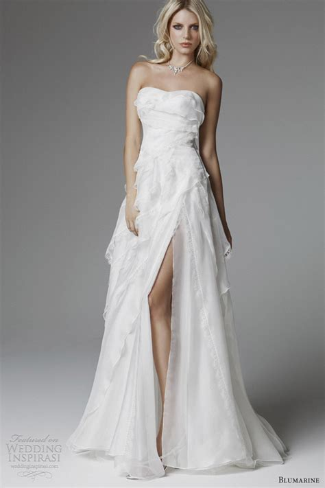 Wedding Dress With Slit by Strapless White Wedding Dress With High Slit Sang Maestro