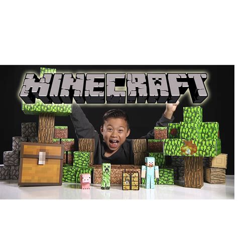 Minecraft Deluxe Papercraft - minecraft deluxe set paper craft kit 90p 231 s blocos montar