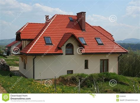 Hip Roof Barn Plans Modern House With Red Roof Stock Image Image Of Village