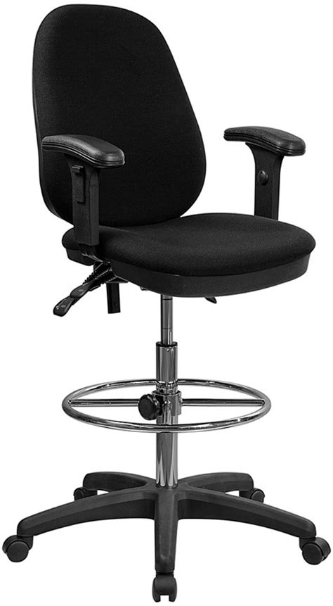 Reclining Office Chair With Leg Rest by Office Desk Chair Adjustable Ergonomic Drafting Stool W Foot Rest Arms Ebay