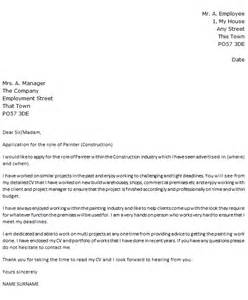 Automotive Painter Cover Letter by Painter Cover Letter Exle Construction Icover Org Uk