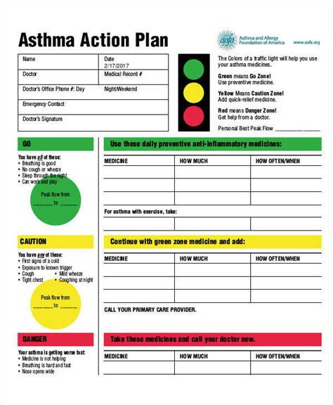 asthma action plan template my asthma action plan template