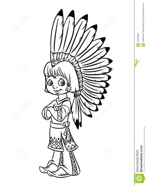 coloring page indian coloring pages indian chief boy national costume war