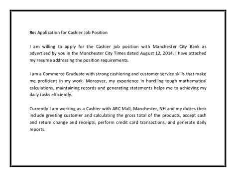 cover letter for cashier position cashier cover letter sle pdf