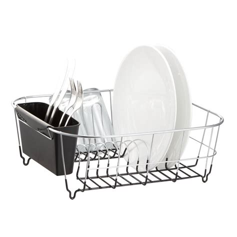 dish drainer for small of deluxe chrome plated steel small dish drainers black ebay
