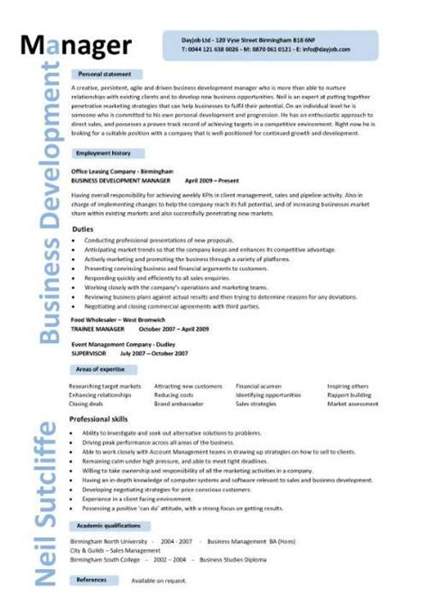Business Management Resume Template by Business Development Manager Cv Template Managers Resume