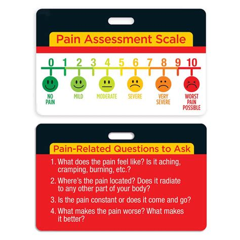 pain assessment scale laminated badge card positive promotions