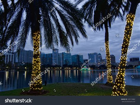 lake eola christmas tree video twilight view of orlando skyline during the holidays lake eola and decorated palm