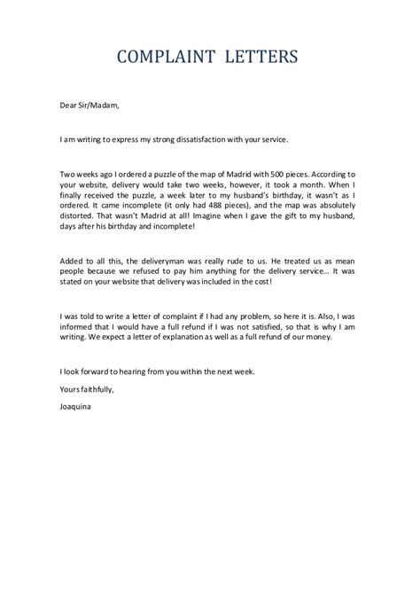Complaint Letter For Delay Service Letters Of Complaint