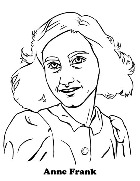 ann frank free colouring pages