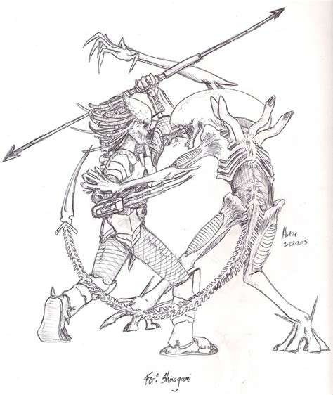 the gallery for gt alien vs predator coloring pages