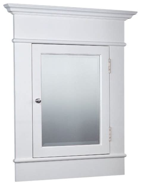 large white recessed medicine cabinet with beveled mirror