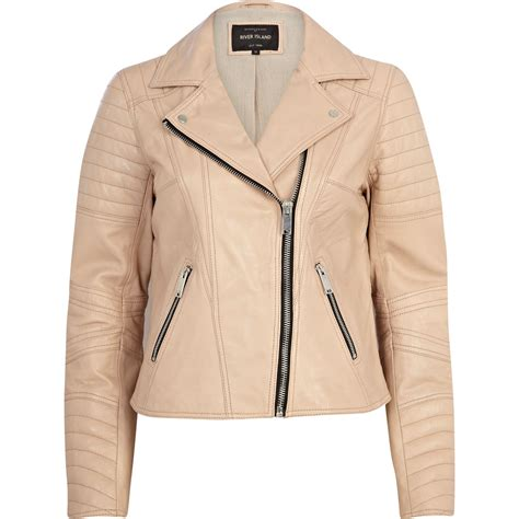 light leather jacket womens river island light pink leather biker jacket in pink lyst