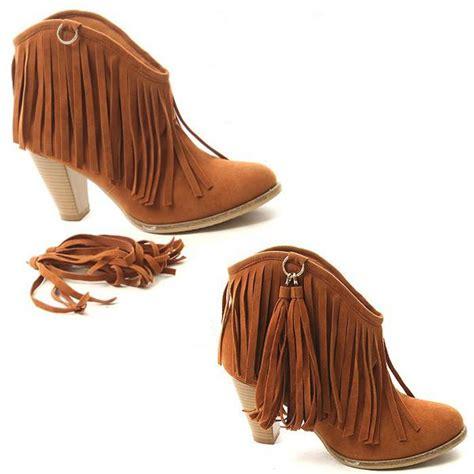 high heel fringe boots fashion color s fringe high heel ankle boots