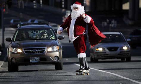santa claus  skating  town