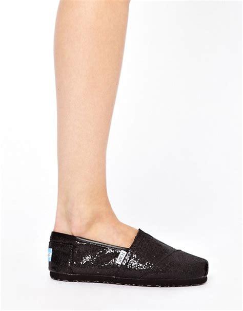 toms classic black glitter flat shoes toms toms classic black glitter flat shoes