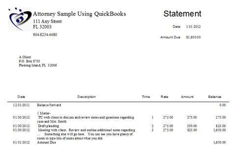 Firm Billing Letter Firm Sle Statement From Quickbooks Quickbooks