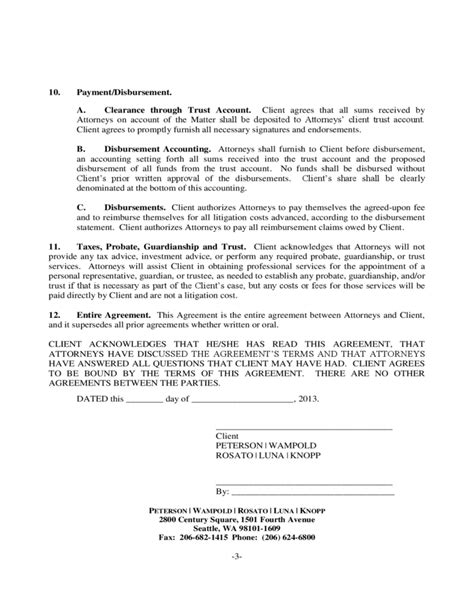 contingency agreement template attorney client contingency fee agreement free