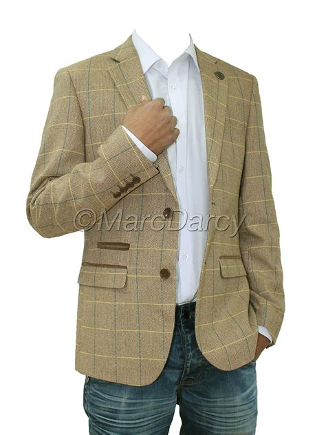 Set Check Blazer Vest Check mens designer oak brown tweed herringbone vintage coat