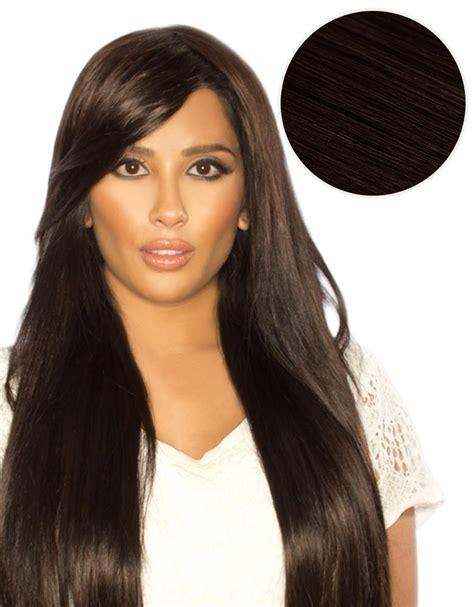 Hair Dye To Match Bellami Moccachino Brown | side swept clip in bangs mochachino brown 1c bellami