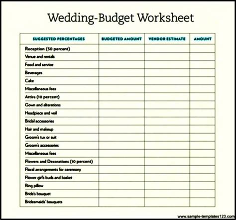 sle wedding budget template download sle templates
