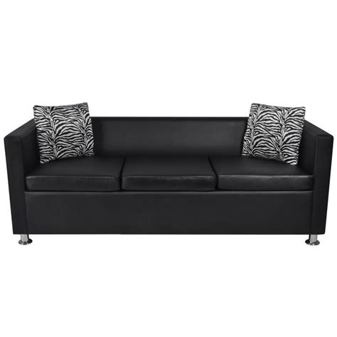 Black Leather 3 Seater Sofa Black Artificial Leather 3 Seater Sofa Www Vidaxl Au