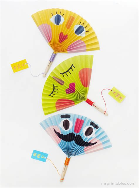 Paper Craft For Kid - summer paper fans mr printables