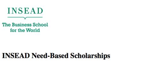 Need Based Scholarship For Mba insead need based scholarships form mba programme 2017