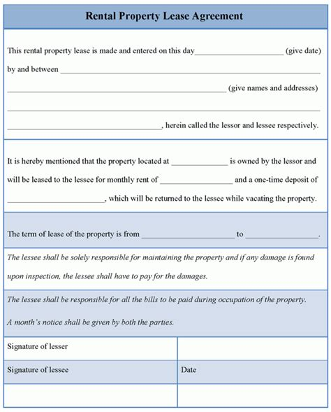 rental agreement lease template agreement template for rental property lease exle of