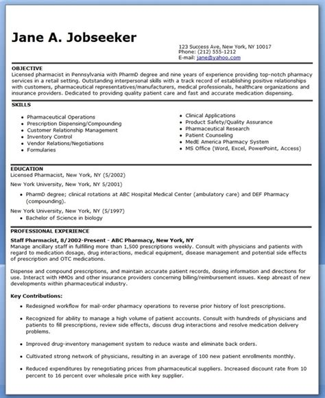 resume template for pharmacist pharmacist resume sle creative resume design