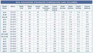 standard ada aquarium sizes and volumes spec tanks