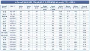 Gallon Fish Tank Size Standard ada aquarium sizes and volumes   spec