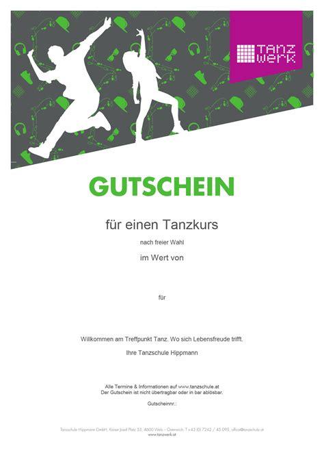 Vorlage Gutschein Modern Gutschein Tanzwerk Tanzschule Hippmann