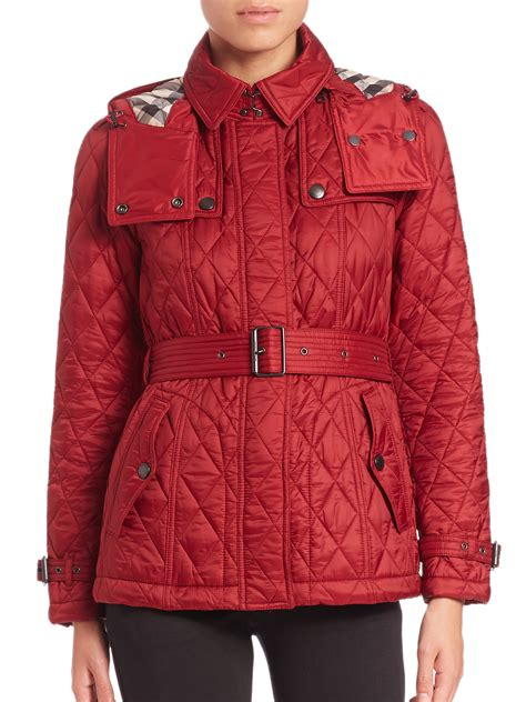 lyst burberry brit finsbridge short quilted jacket  red